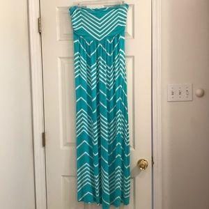 Strapless Teal Chevron Maxi Dress
